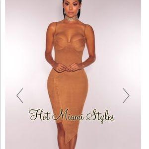 Dresses & Skirts - Mocha Faux Suede Bustier Dress